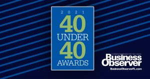 Graphic depicting the logo of Business Observer's 40 Under 40 Awards